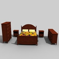 3d set bedroom furniture model
