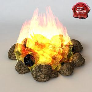 3d max campfire modelled