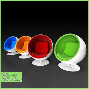 3d model eero aarnio ball chair