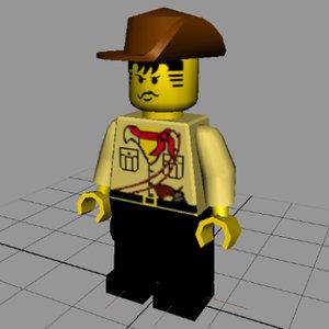 3d model lego figure johnny thunder