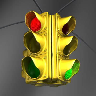 3d yellow metallic traffic lamp model