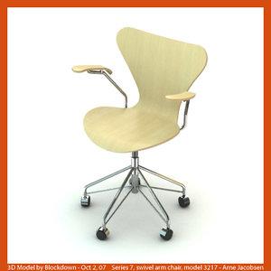 arne jacobsen swivel chair 3d model