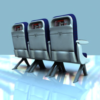 3d airplane economy seats class model