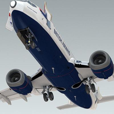 3d model 737-300 plane british airways