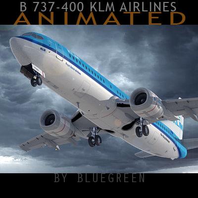 3d 737-400 plane klm