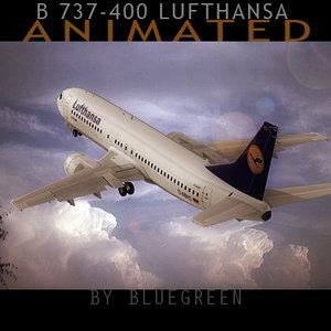 3d 737-400 plane lufthansa model