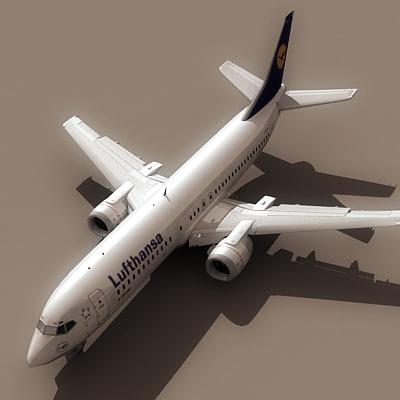 3d 737-400 lufthansa model