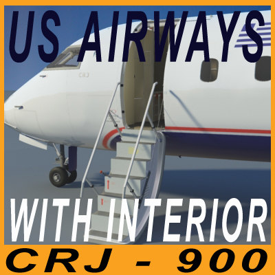 3d model crj 900 airways interior