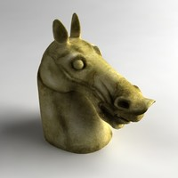 horse head sculpture 3d obj