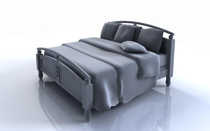 3d modern king bed