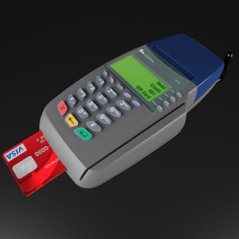 3d wireless credit card pinpad model