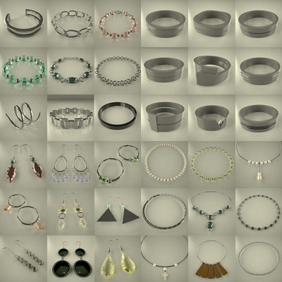 jewels rings earings 3d model
