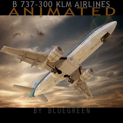 3d 737-300 plane klm