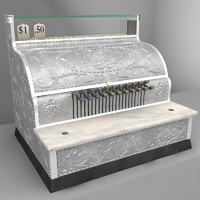 3d model antique cash register