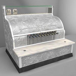 3d model antique cash register