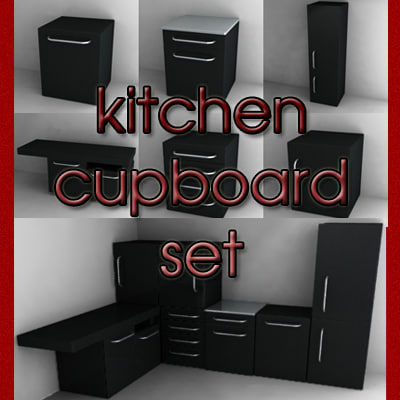 kitchen cupboard set 3d model