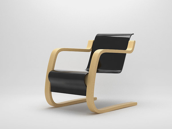 3d model easy chair alvar aalto