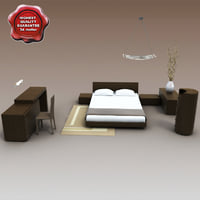 3d model bedroom furniture v3 bed