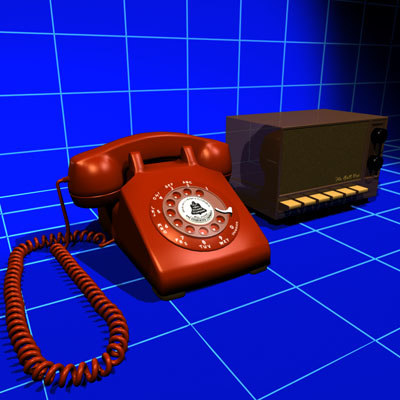 3d model rotary phone box vintage