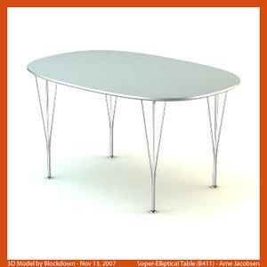 3d model arne jacobsen table