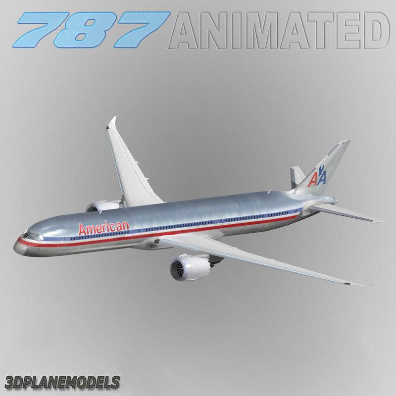 3d b787-10 american airlines 787-10 model