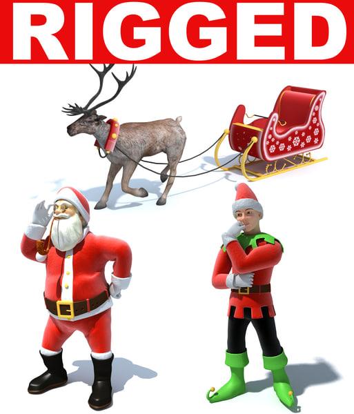 3dsmax christmas characters santa claus