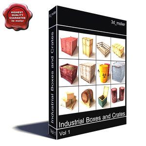 industrial boxes crates contains 3d c4d