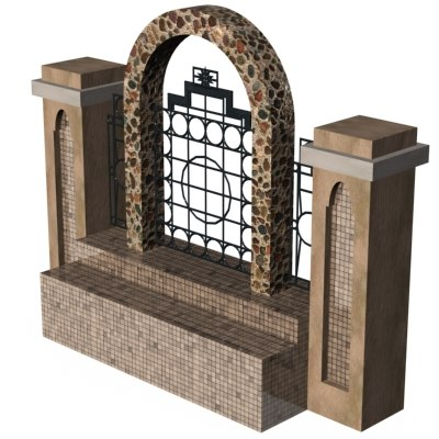 3d fence parks metalic model