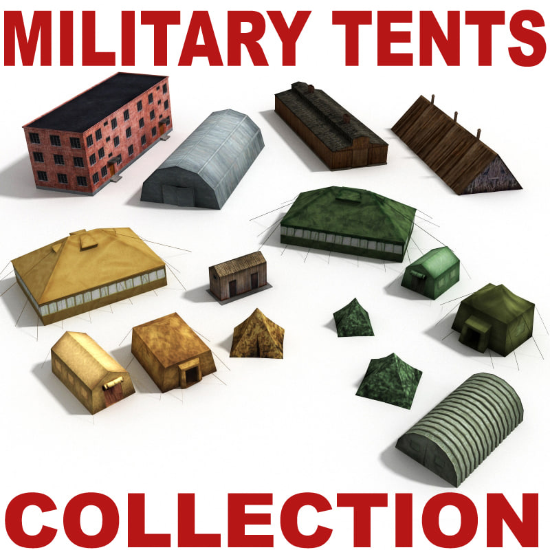 3d model military tents houses