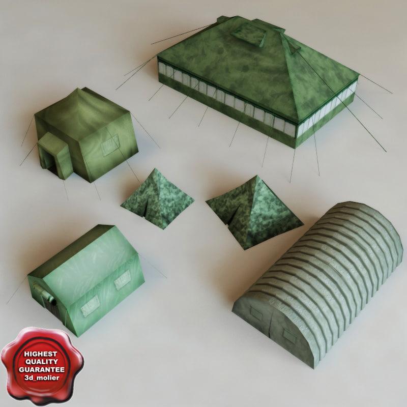 3d model military tents