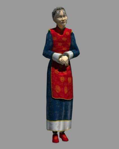 3d model asian grandmother