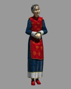 3d model asian grandmother
