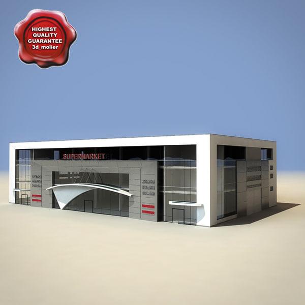 3d supermarket scene modelled