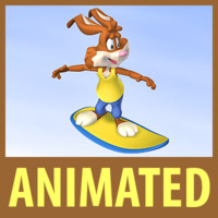 surfing brown bunny character animation 3d 3ds