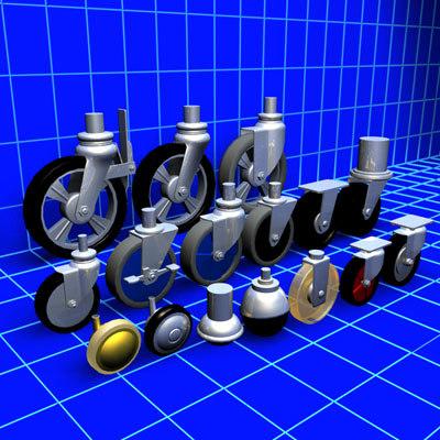 3d model caster wheel 01
