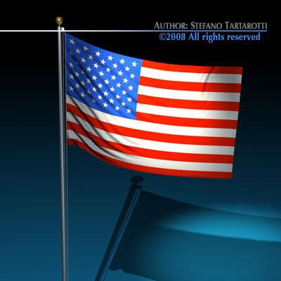 flag flagpole 3d c4d