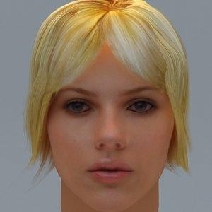photorealistic scarlett head hair 3d model