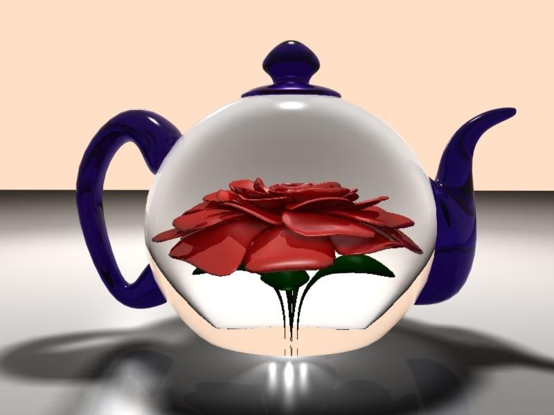 realistic glass teapot rose flower 3d model