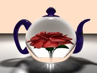 realistic glass teapot rose flower 3d model