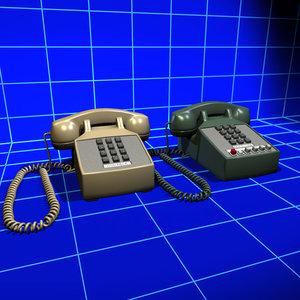 touchtone phone vintage 01 3d model
