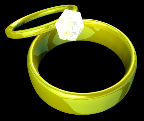 3d gold wedding bands model