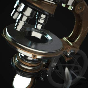 microscope equipped v-ray 3d model
