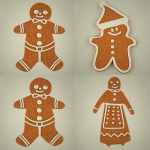 3d gingerbreads man woman