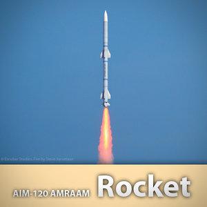 aim-120 amraam missile 3d model