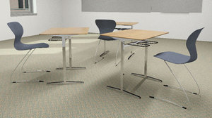 classroom chair desk 3d max