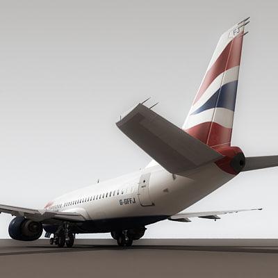737-500 plane british airways obj