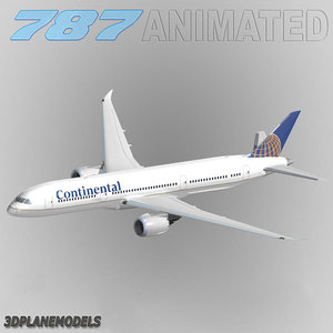 3d b787-9 continental airlines 787-9 model