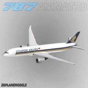 3d b787-9 singapore airlines 787-9 model