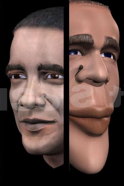 3d caricatured real barack obama