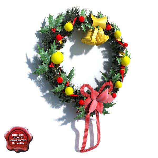 christmas wreath 3d max